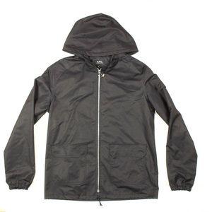 A.P.C. Black Zip Hooded Cotton Jacket Size S